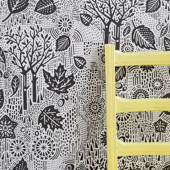 Autumn Wallpaper in Charcoal - 10m x 52cm roll #autumnwallpaper