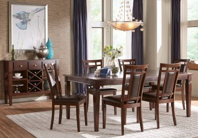 Riverdale Cherry 5 Pc Rectangle Dining Room With Upholstered Back Delectable Cherry Wood Dining Room Sets Decorating Inspiration