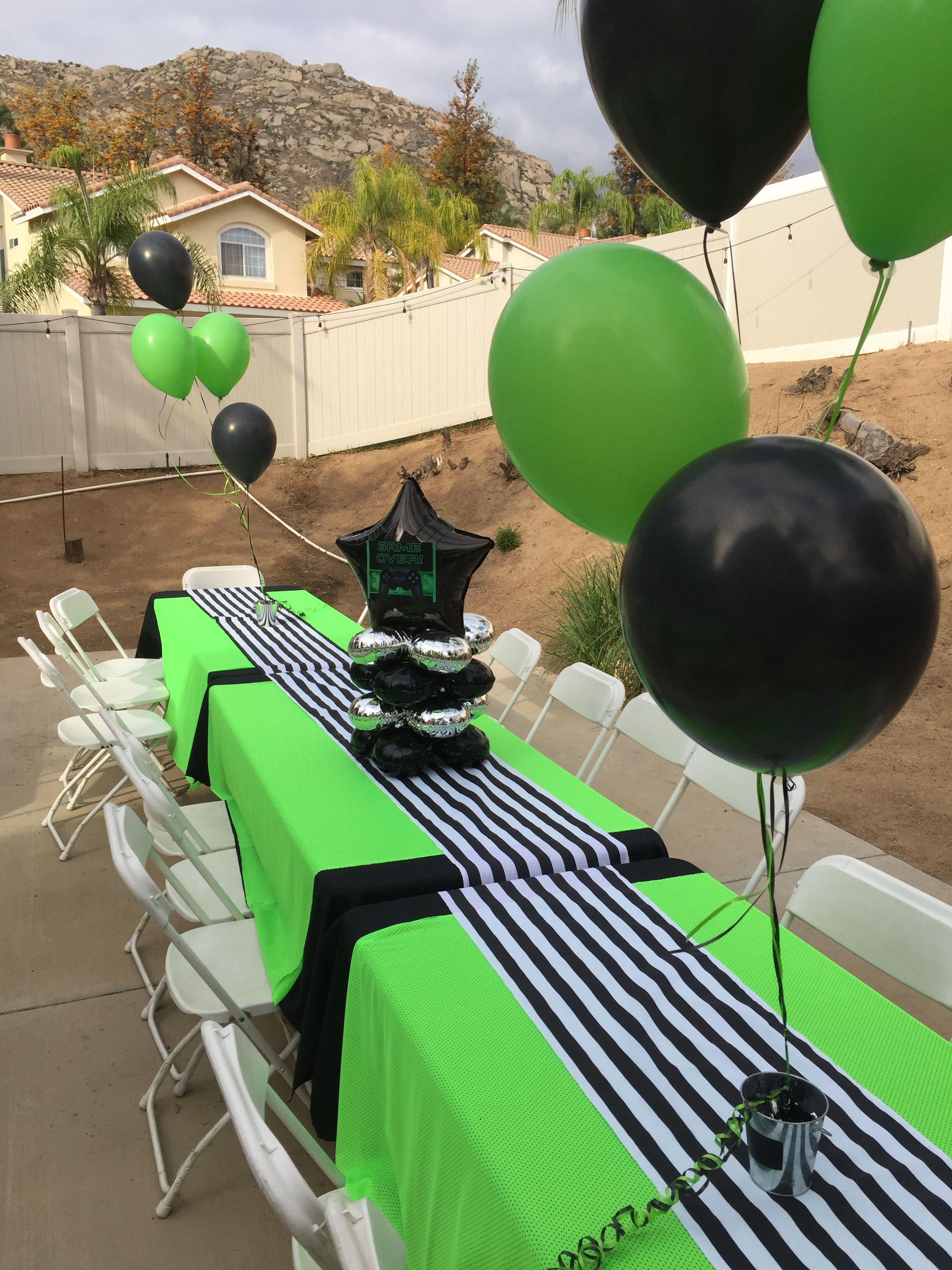 Boys 10th Birthday Party Theme Green Black Video Games Birthday Party Boy Birthday Party Themes Xbox Birthday Party