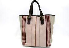 AUTHENTIC BOTTEGA VENETA Striped Canvas Tote Bag Pink and Beige 172028 e4dfd0a583a47