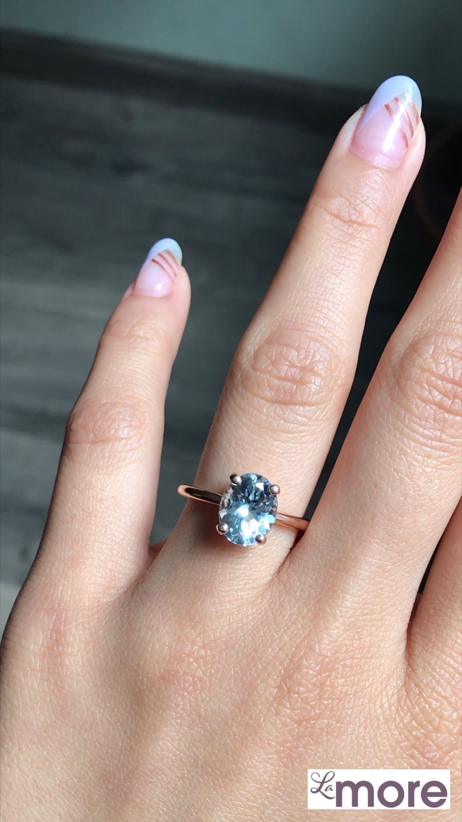Oval Aquamarine Ring in 14k Rose Gold Low Profile Solitaire Ring, Size 6.75