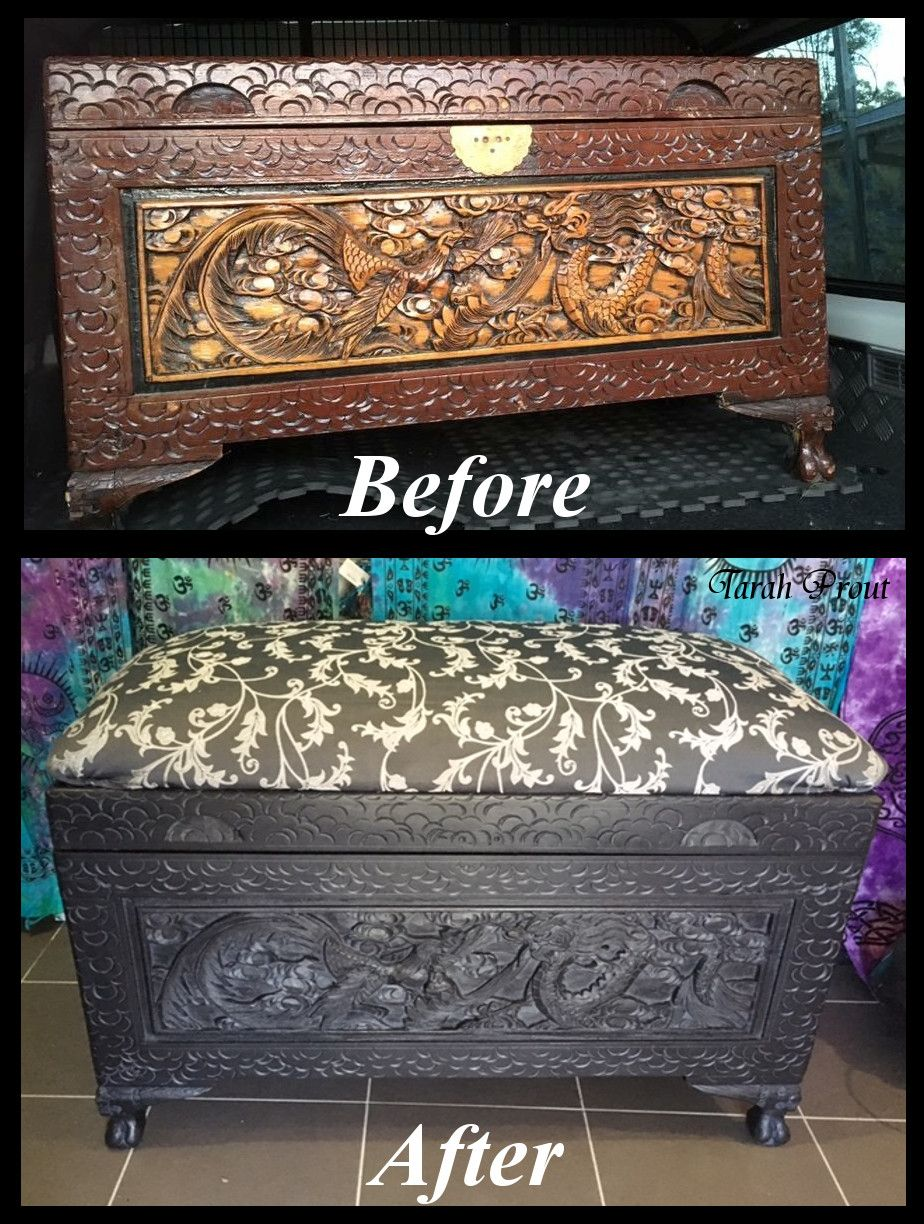 Up Cycled Large Carved Chinese Camphor Chest Turned Into A Cushioned Top Blanket Box Painted