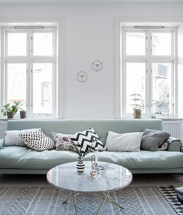 Mint Green Sofa In A Light Home   COCO LAPINE DESIGN