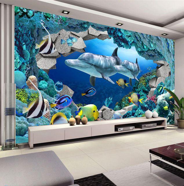 Wall Mural Underwater World Photo Wallpaper Interior Art Decoration Dolphin  Wallpaper Kids Bedroom TV Background Wall Ocean