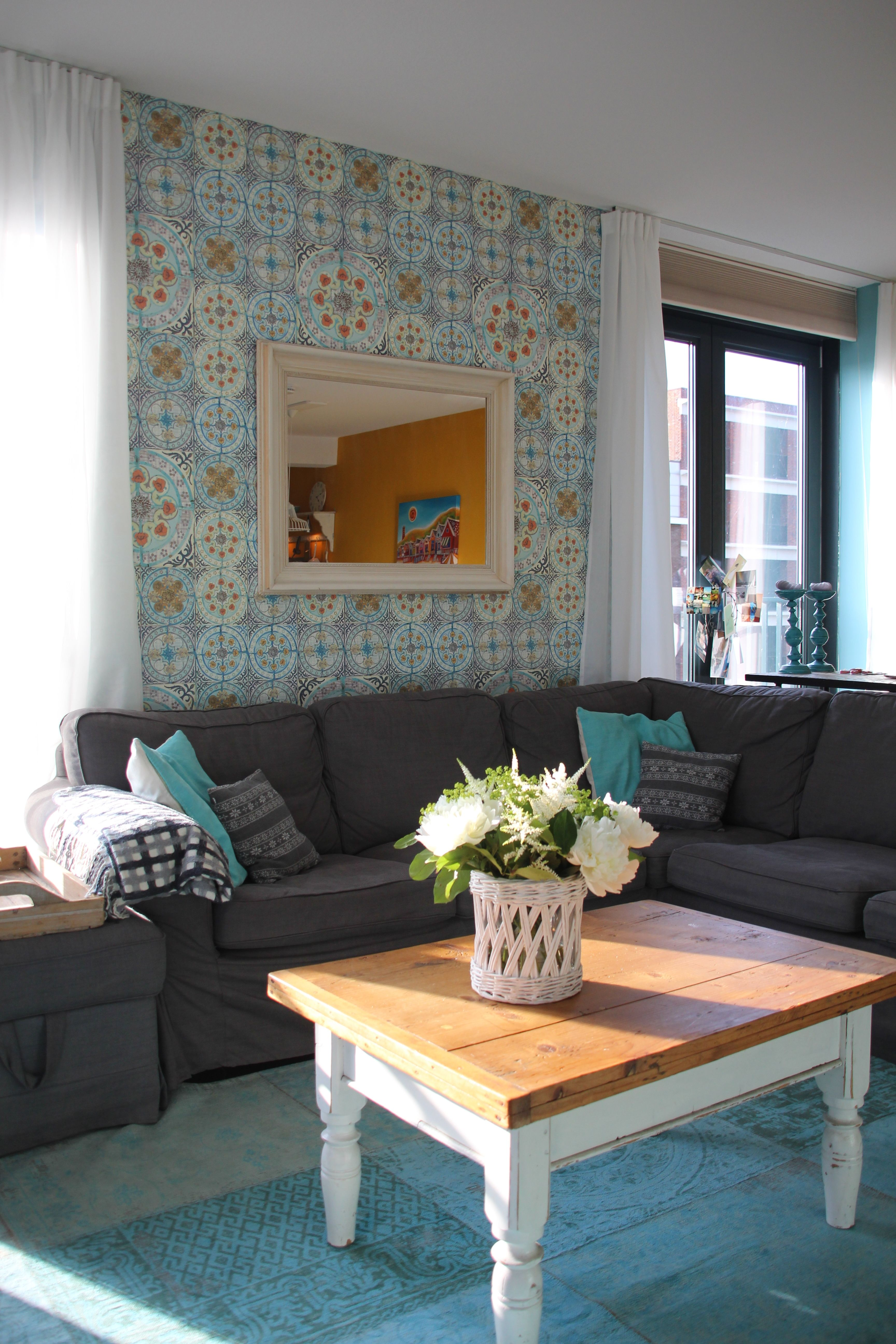 Vintage style tile wallpaper. Looks great in a lounge area