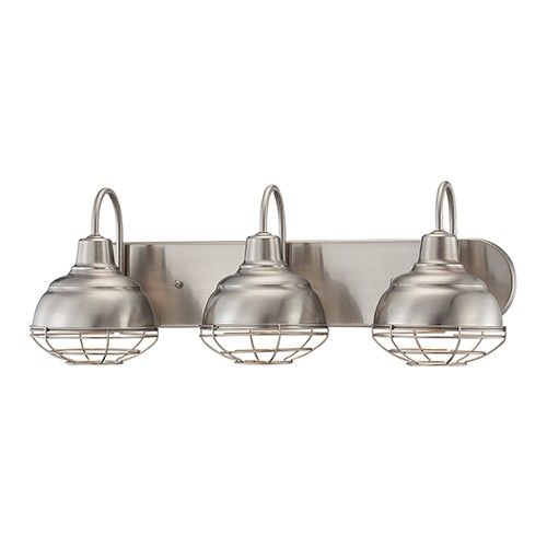 If you're looking for industrial style lighting, you're looking for the Millennium Lighting Neo-Industrial! This 3-light bath vanity bar has cage shades and a satin nickel finish. Damp location rated.