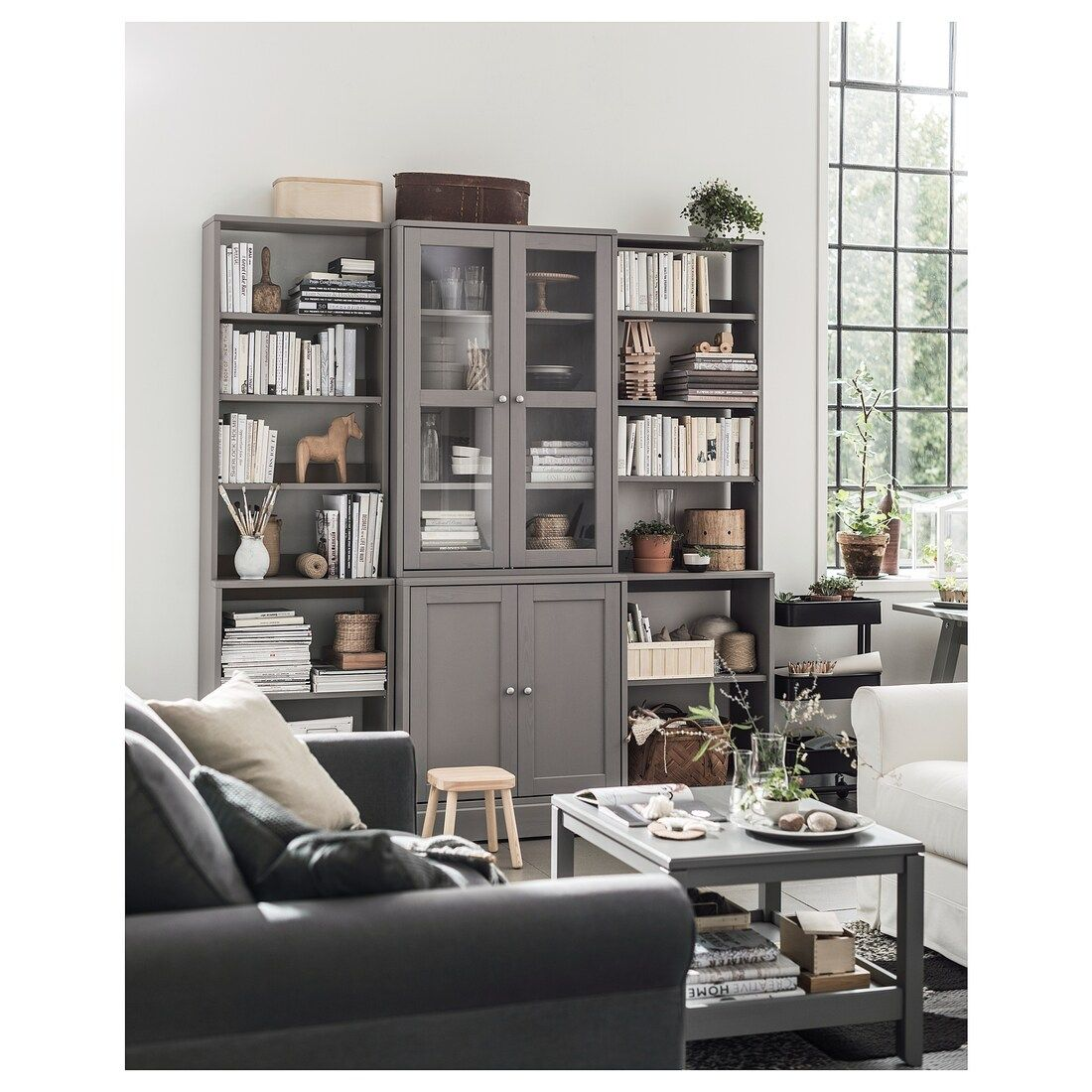 IKEA HAVSTA Gray Storage combination w/glass doors v roce