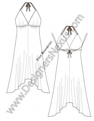 Fashion Designer Templates Simple V54 Handkerchief Hem Halter Dress Flat Fashion Sketch Dress Template .