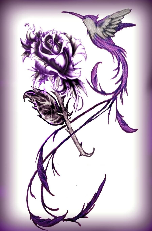 purple ink hummingbird with rose tattoo design tatoo 39 s pinterest rose tattoos tattoo. Black Bedroom Furniture Sets. Home Design Ideas