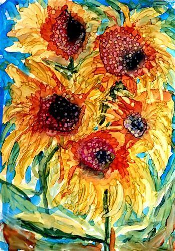 """More Sunflowers"" - Original Fine Art for Sale - © Kristen Dukat"