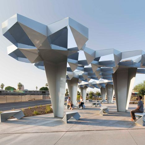 Howeler Yoon Creates Canopy Of Folded Metal Plates For Urban Park In Phoenix Architecture Canopy Design Shade Structure