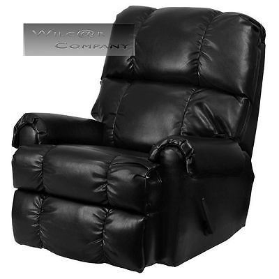 Black Leather Rocker Recliner Lazy Boy Reclining Chair Furniture
