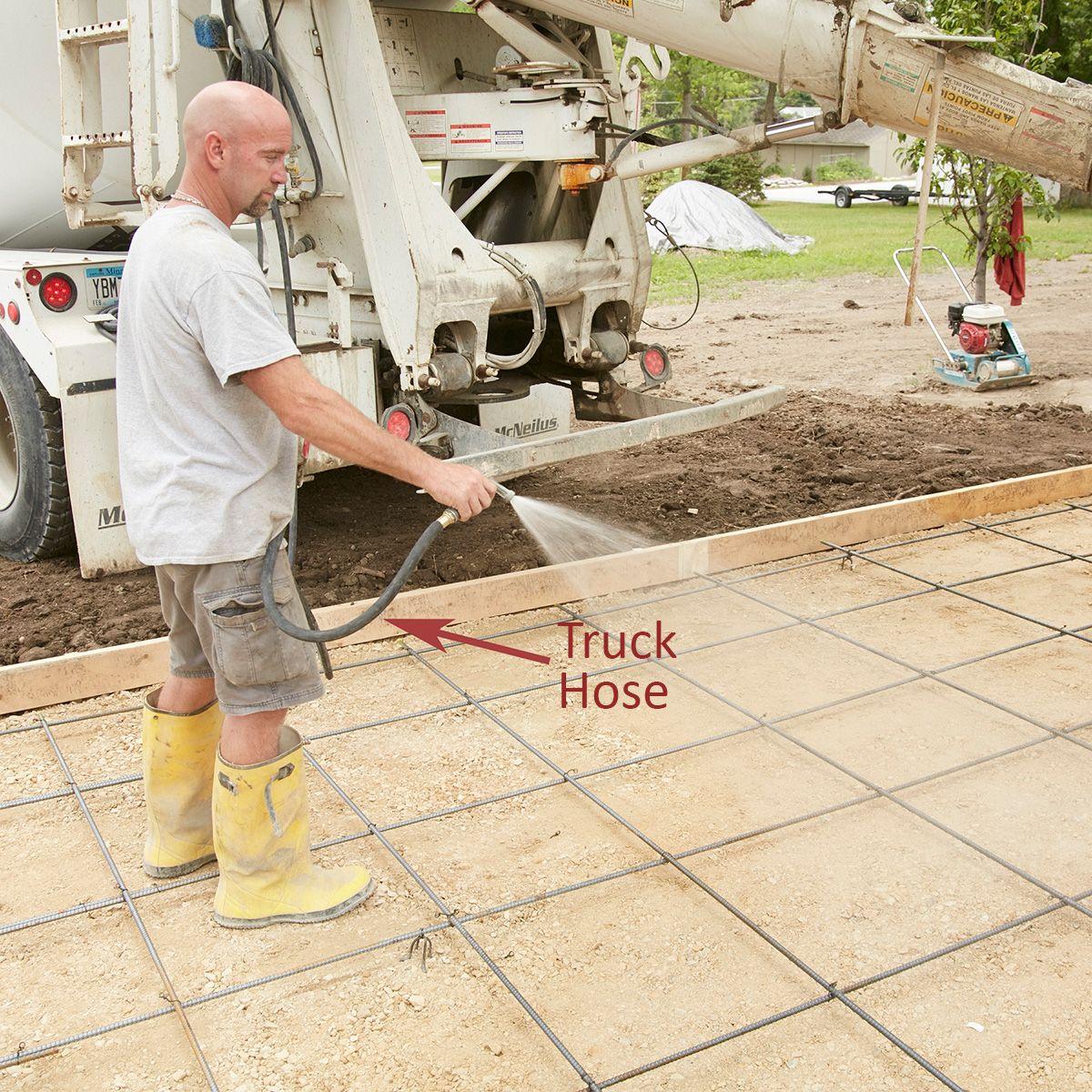 Wet The Gravel Concrete Slab Concrete Slab Patio Concrete Driveways