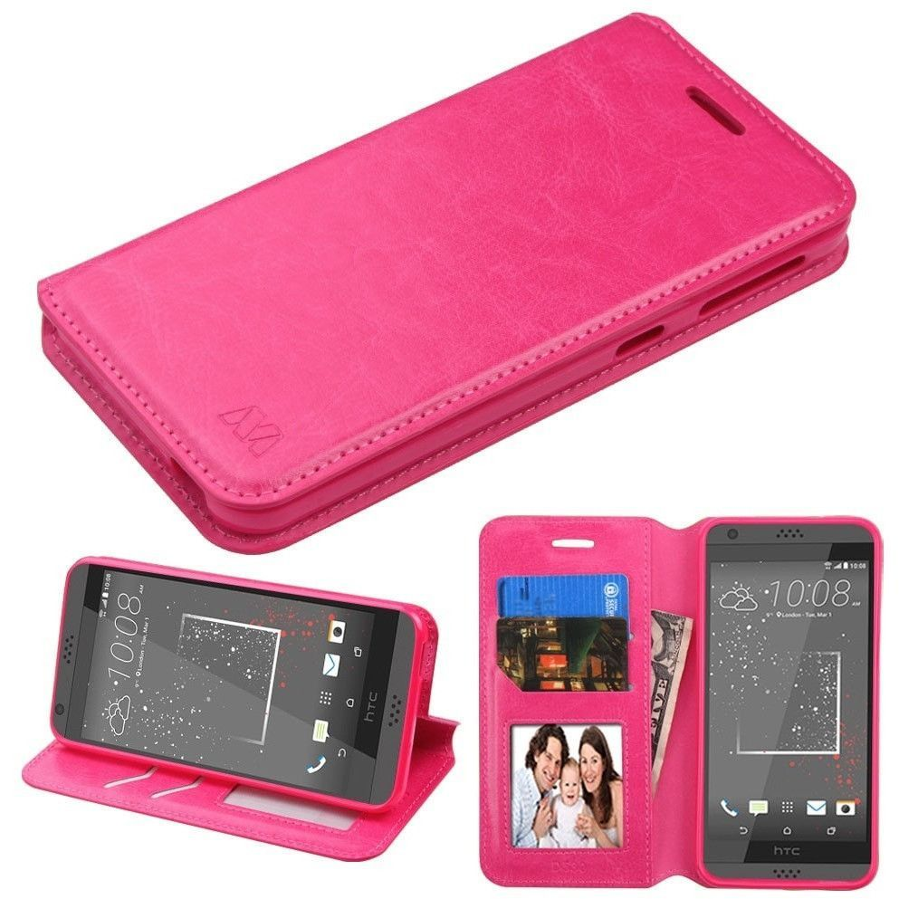 MYBAT Flip Stand Leather Wallet HTC Desire 530 Case - Hot Pink