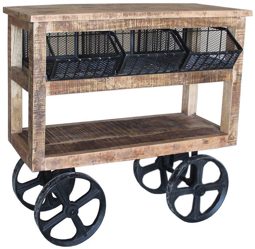 Farmhouse Bar Cart Trolley Food Storage Rack Rustic Wheels