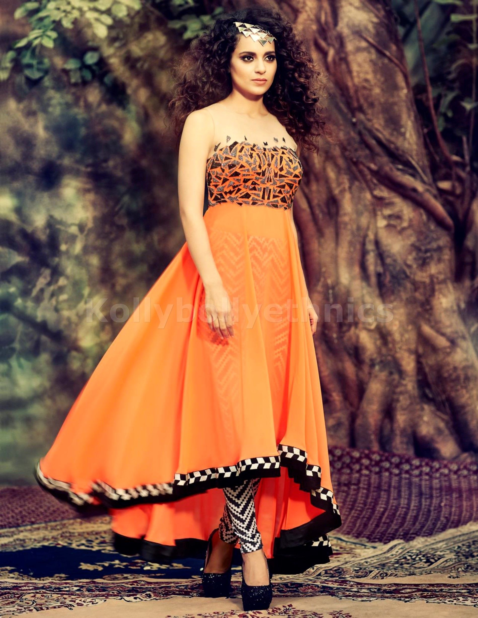 bb5b42e118 Designer Orange Georgette Anarkali Suit | Kangana Ranaut Suits ...