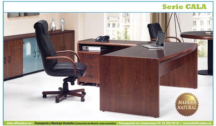 Muebles de oficina para dirección chapa de madera natural barnizada, trabajada por auténticos ebanistas.