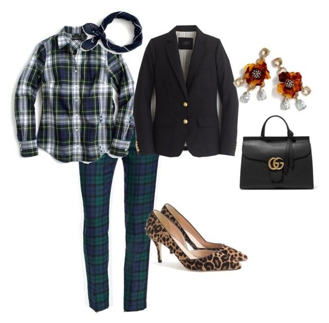 """""""Untitled #152"""" by queenbea ❤ liked on Polyvore featuring Brooks Brothers, J.Crew and Gucci"""
