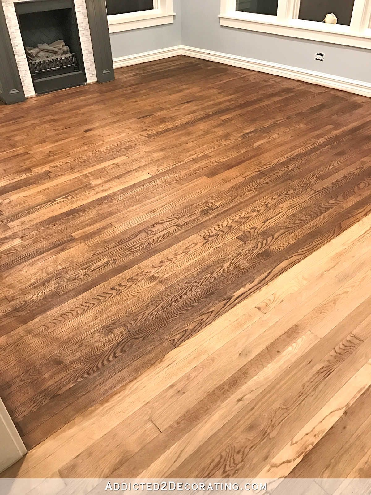 Adventures In Staining My Red Oak Hardwood Floors Products Process Addicted 2 Decorating Hardwood Floor Stain Colors Red Oak Hardwood Floors Refinishing Hardwood Floors