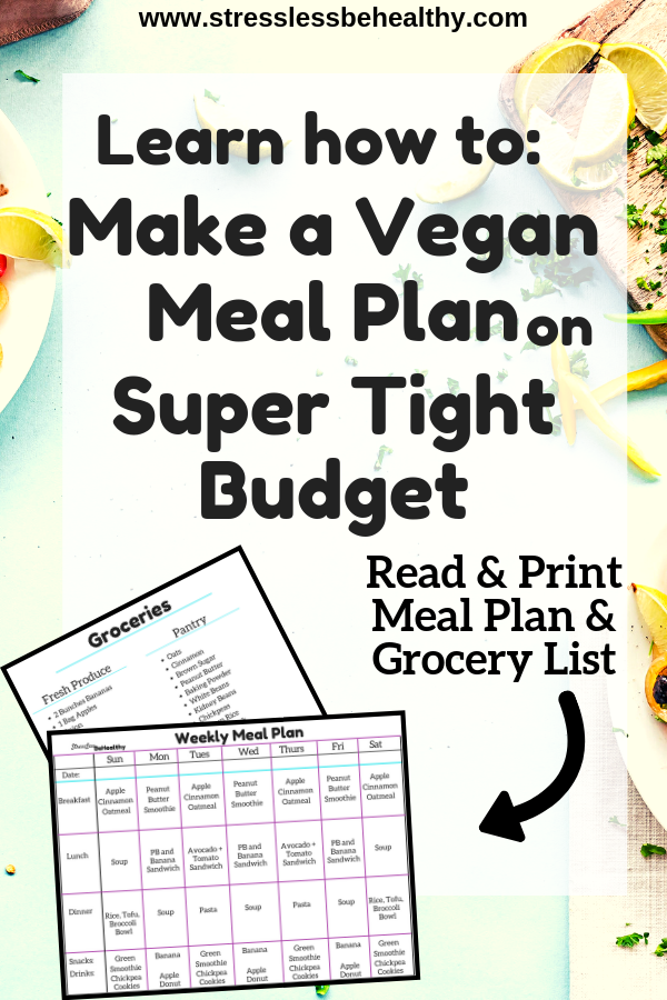 My Super Simple And Cheap Vegan Meal Plan And Grocery List Cheap Vegan Meal Plan Cheap Vegan Meals Cheap Vegan