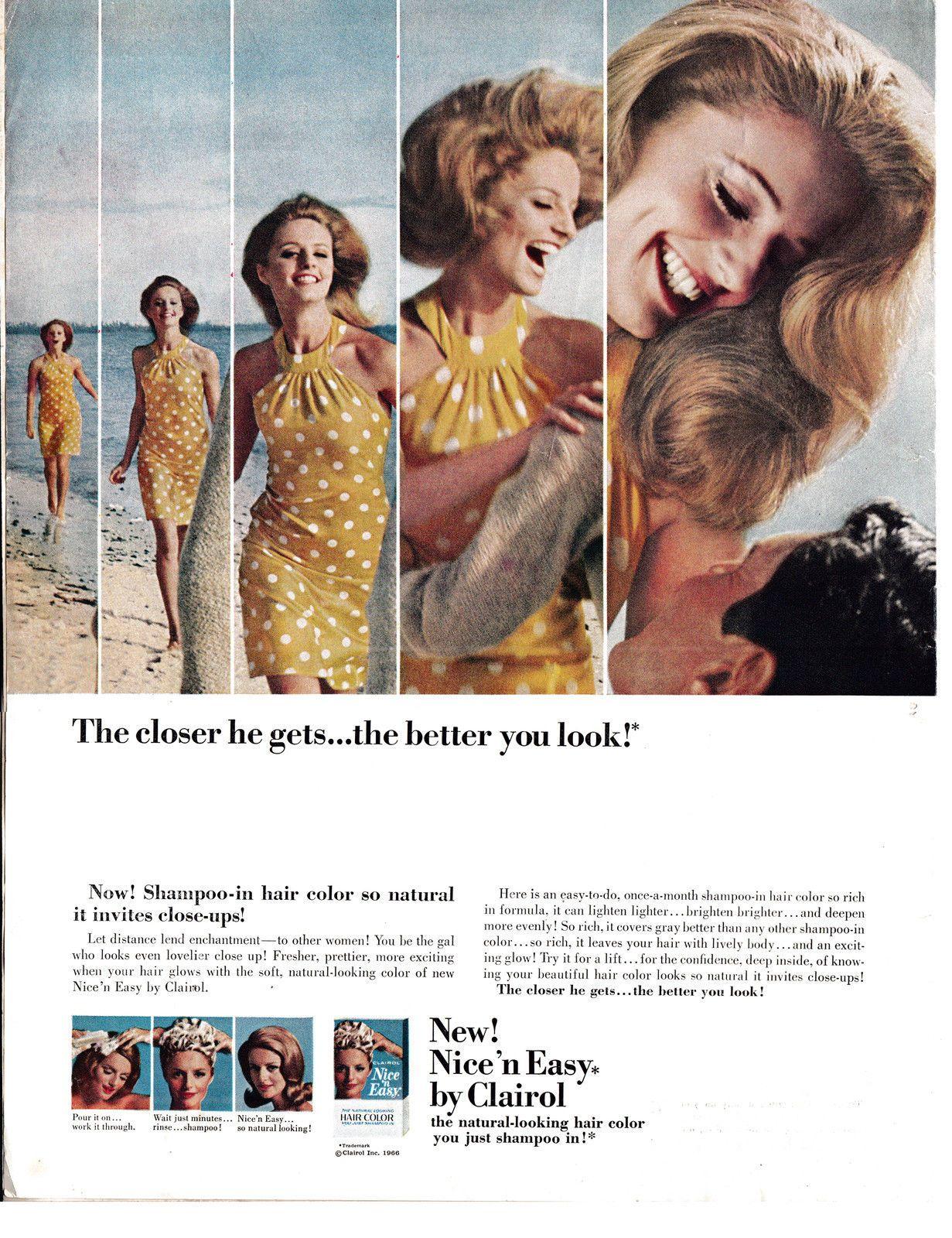 1966 Clairol Nice N Easy Shampoo Hair Coloring Original 13 5 10 5 Magazine Ad Clairol Hair Shampoo Hair Color Shampoo
