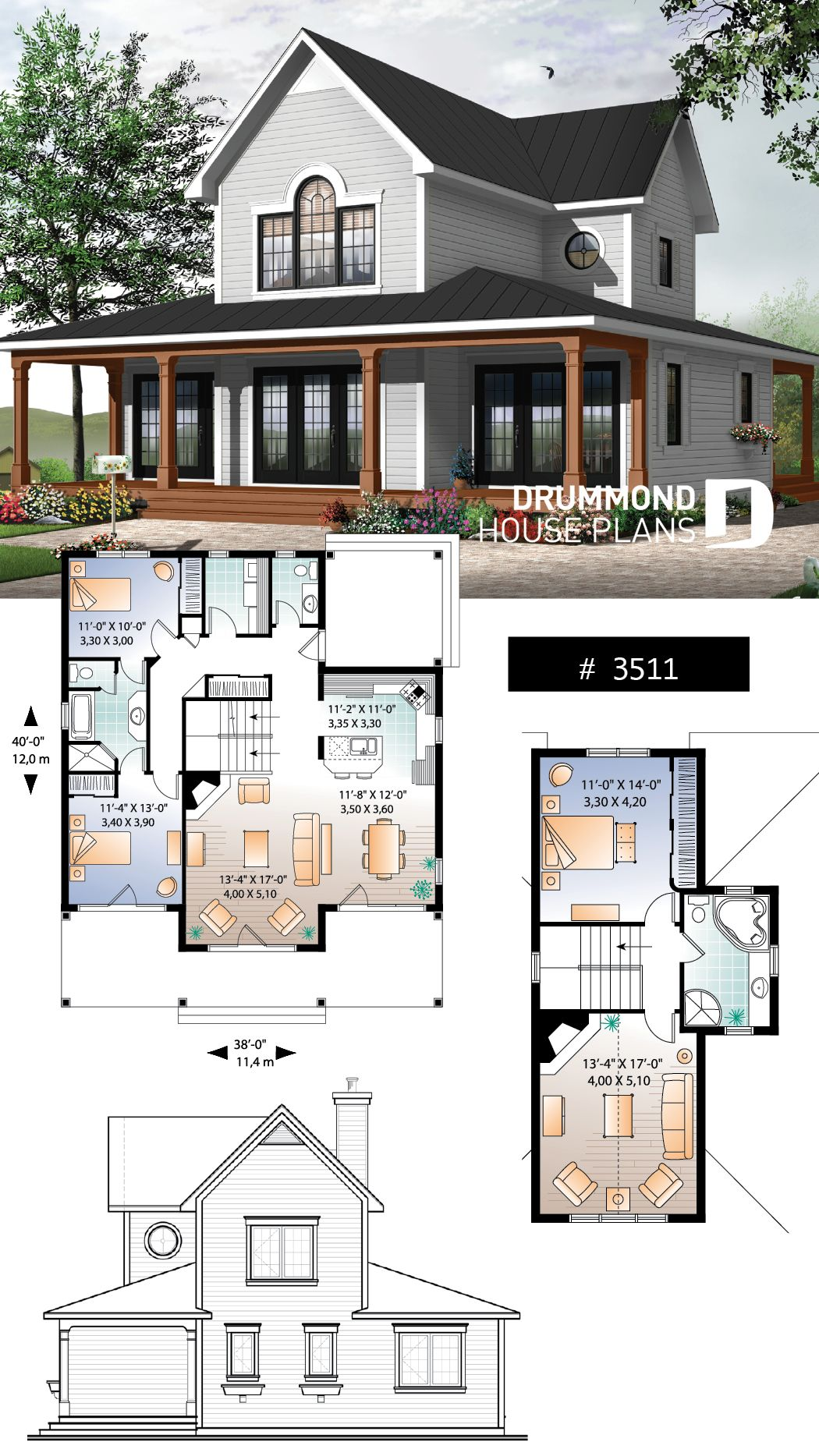 Discover The Plan 3511 Edgewater Which Will Please You For Its 3 4 Bedrooms And For Its Cottage Chalet Cabin Styles Family House Plans Lakefront Homes House Blueprints