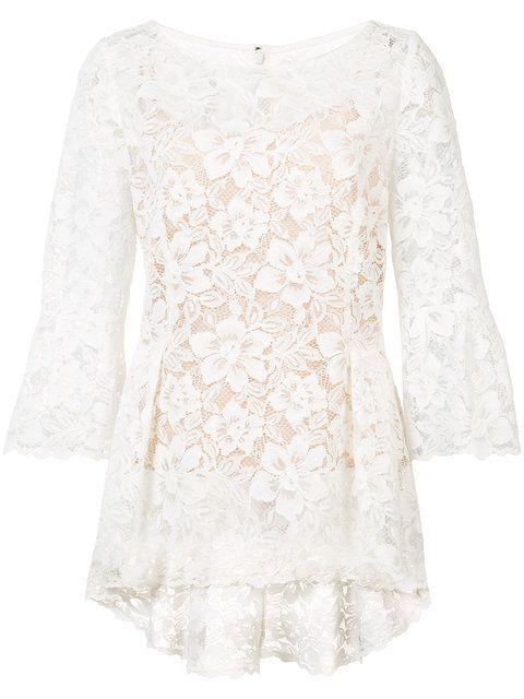 Compre Oscar de la Renta boat neck floral lace blouse.