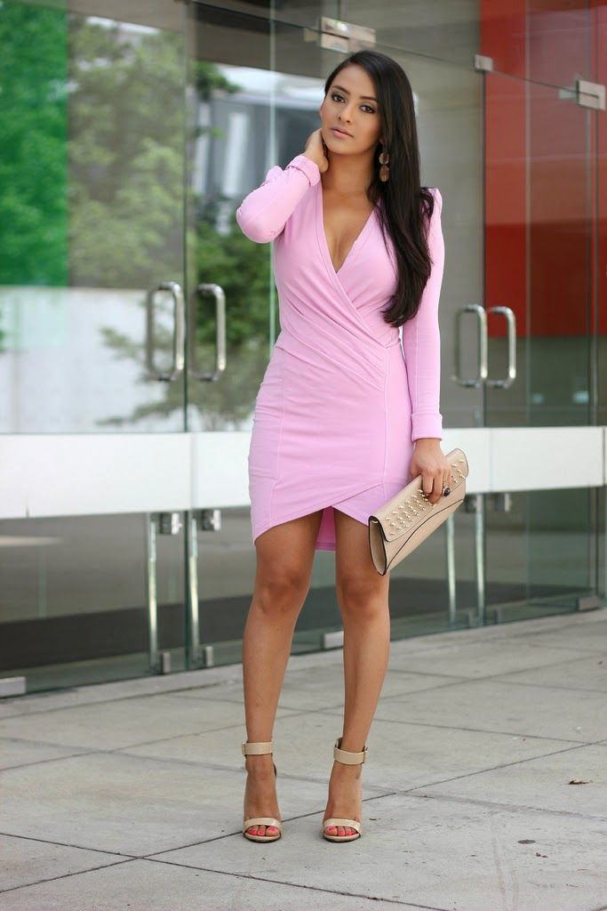 b0ab87220cb4 Pink cross over tailored dress  ℅ Missguided (Here) Nude Heels  (Similar)  Clutch Old (Similar)