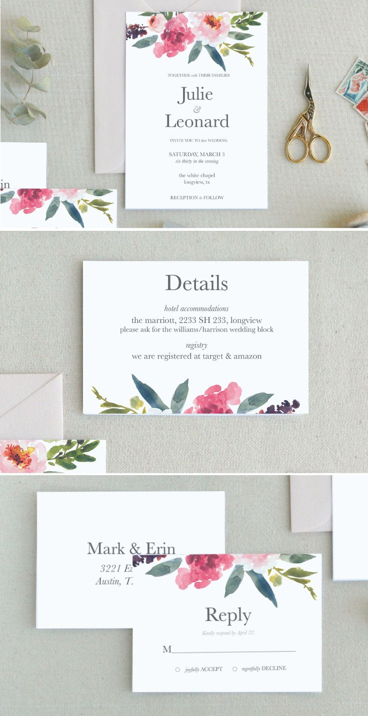An explosion of peonies! This wedding invitation template is perfect ...