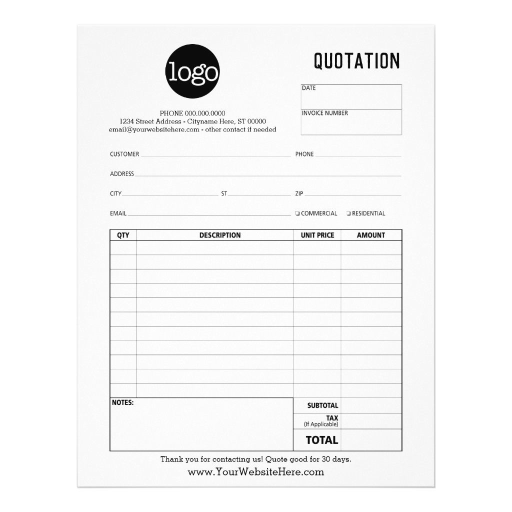 Form Business Quotation Invoice Or Sales Receipt Flyer Zazzle Com Quotations Flyer Invoice Template