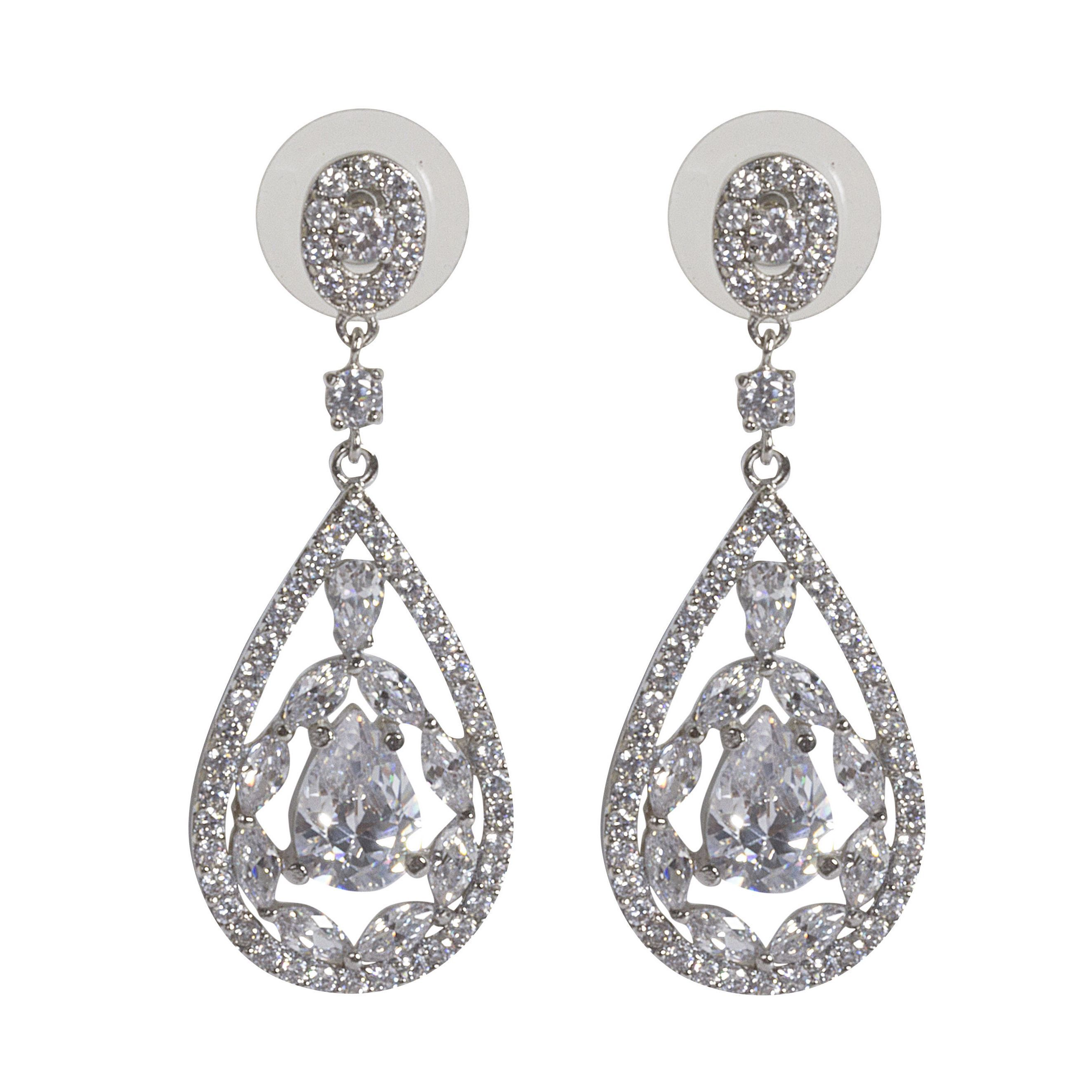 Nexte Jewelry Rhodium plated Cubic Zirconia Trifecta Dangle Earrings