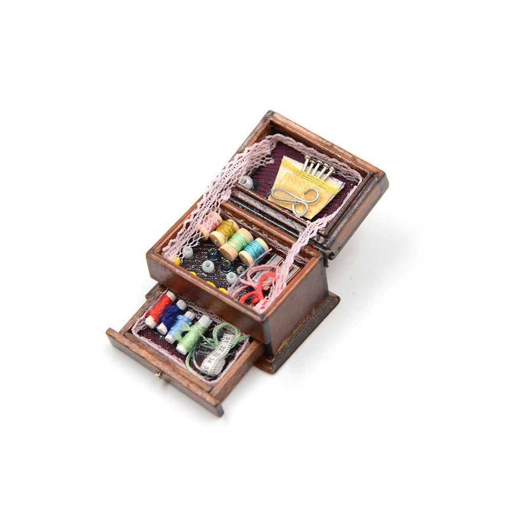 Vintage Sewing Needlework Needle Kit Box 1:12 Dollhouse Miniature Mini Decor LE^
