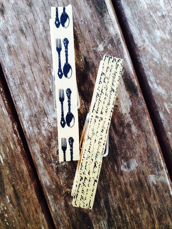 Set of 8 fork and spoon and vintage book altered clothespins  on Etsy, $6.00