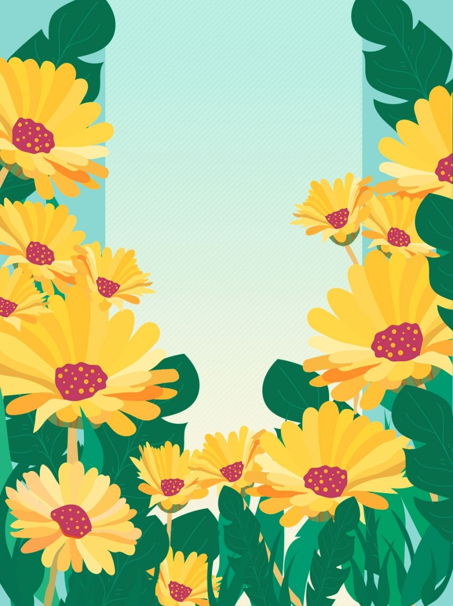 Fresh And Artistic Beautiful Yellow Flower Back Advertising Border