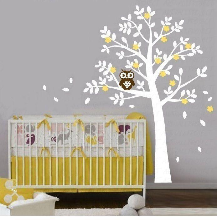 witte boom met uil - muurstickers kinderkamer babykamer | baby, Deco ideeën