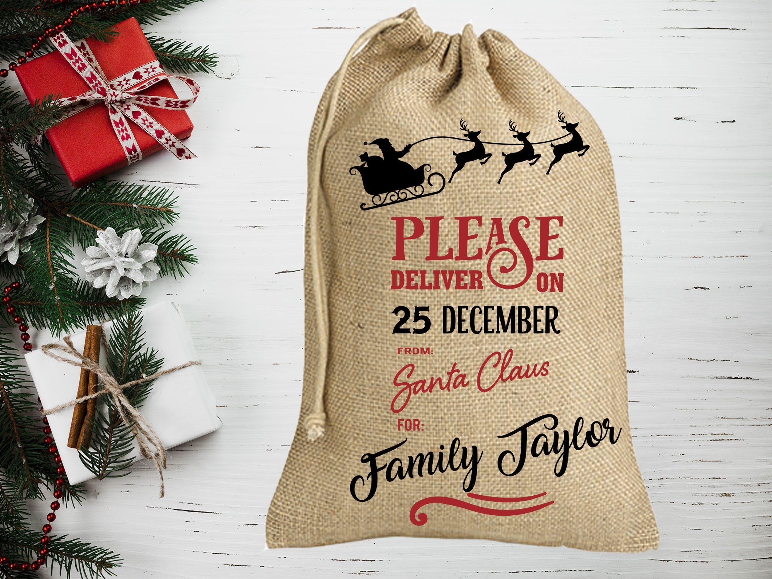 Santa Burlap Gift Sack Personalized