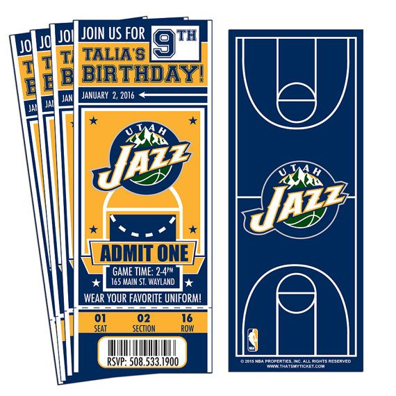 12 Utah Jazz Custom Birthday Party Ticket Invitations