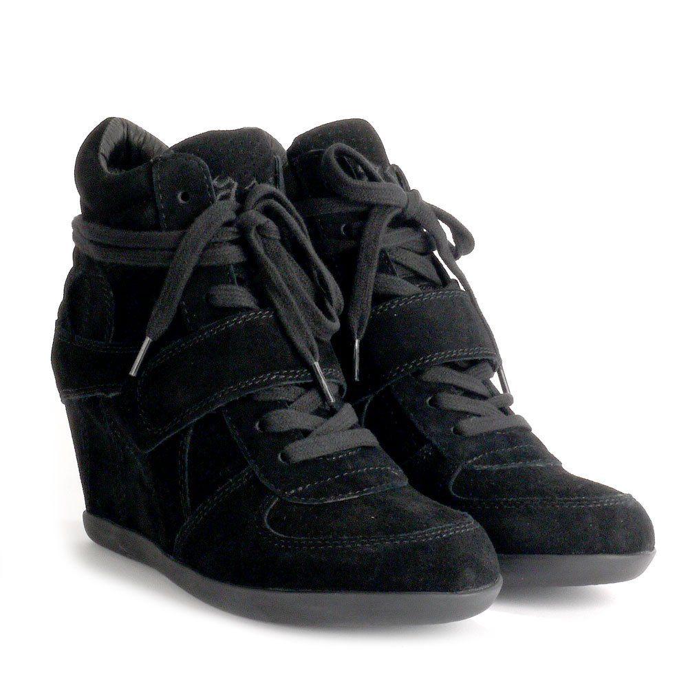 65dc6d111a3 Ash BOWIE Hi-Top Wedge Trainers Black Suede Black Sole
