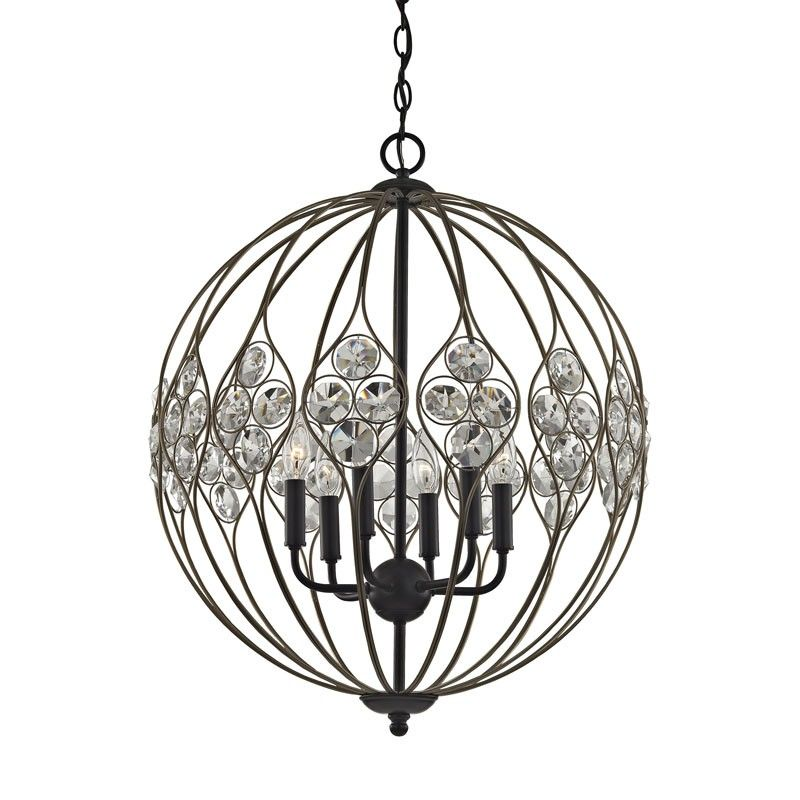 Elk Lighting 81108 6 Crystal Web Light Chandelier In Bronze Gold And Matte Black With Clear Chandeliers Residential