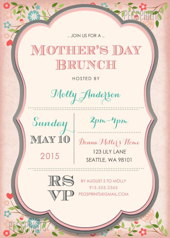 mothers day brunch invitation printable mothers by pegsprints cool ideas pinterest. Black Bedroom Furniture Sets. Home Design Ideas