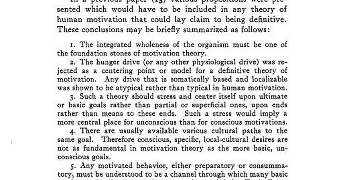 A Theory of Human Motivation - Abraham H Maslow - Psychological