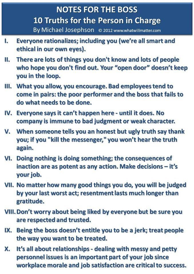 10 truths for the person in charge