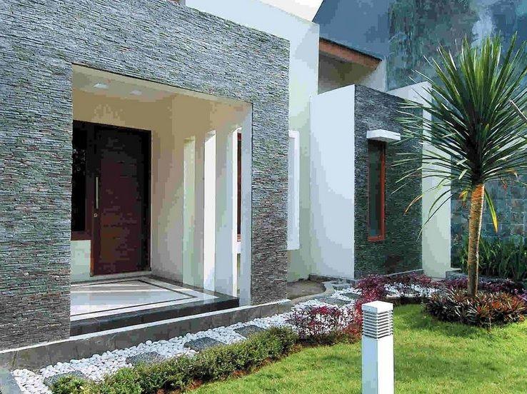 Teras depan rumah dengan kombinasi batu alam  HOME  Pinterest  Batu