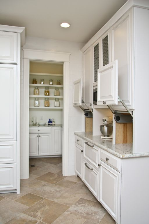 Traditional Kitchen with Vertical lift cabinet door ...