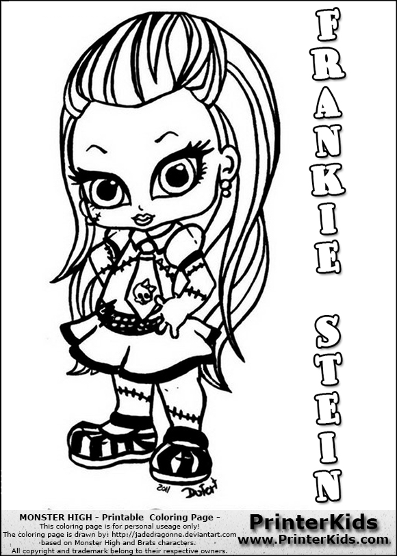 Monster High Frankie Stein Baby Chibi Cute Coloring Page Preview Cute Coloring Pages Coloring Pages Skull Coloring Pages