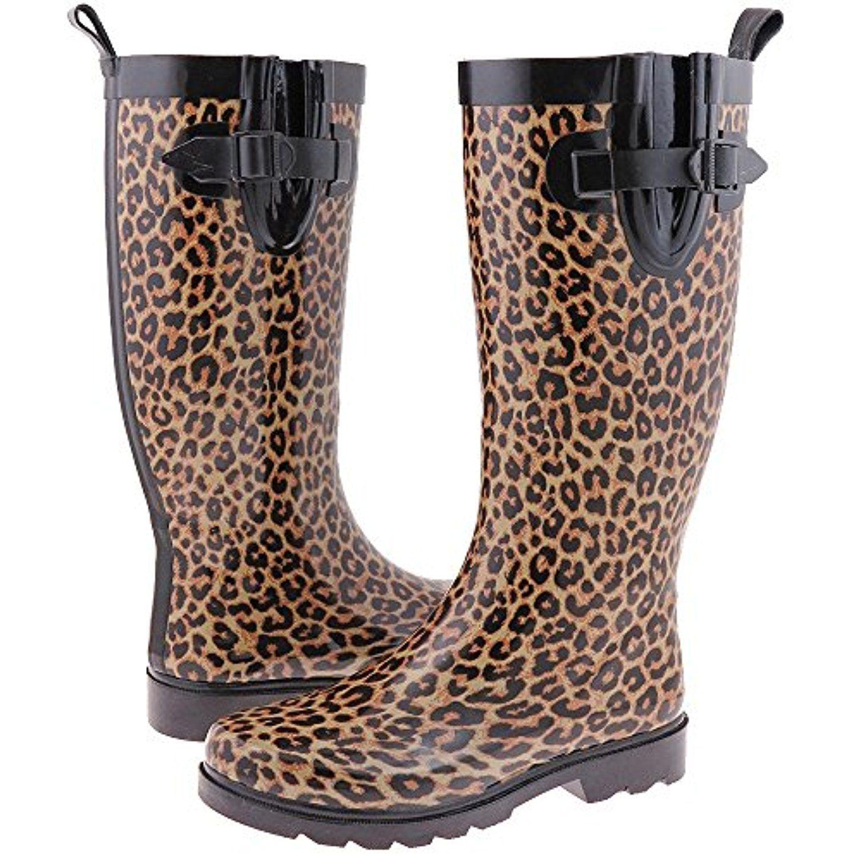 Capelli New York Girls Rainbow Leopard Print Rain Boot