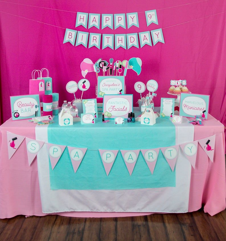 Spa Party Decorations - Instant Download Spa Birthday Party