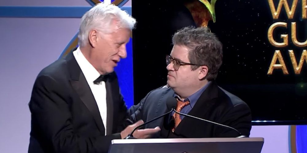 Patton Oswalt Jabs James Woods During Writers Guild Awards Show Monologue. Woods Responds by Leaping Onstage