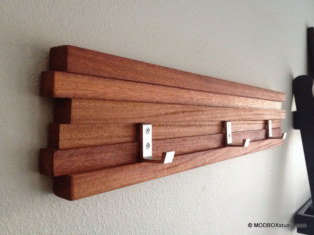 Wood Coat Rack 3 Hook Key Hat Minimalist Modern Wall