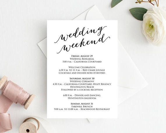 Free Farewell Card Template Simple Wedding Weekend Itinerary Details Card Insert Wedding Information .